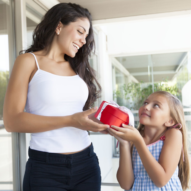 """Nice girl and her mom"" stock image"