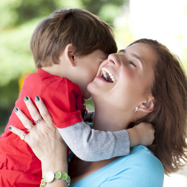 """Beautiful moment between mother and her son"" stock image"