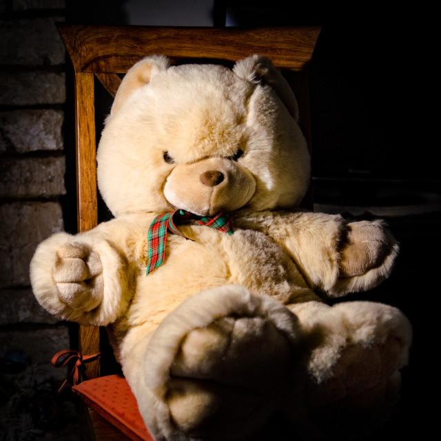 """""""Teddy Bear sat on a chair"""" stock image"""