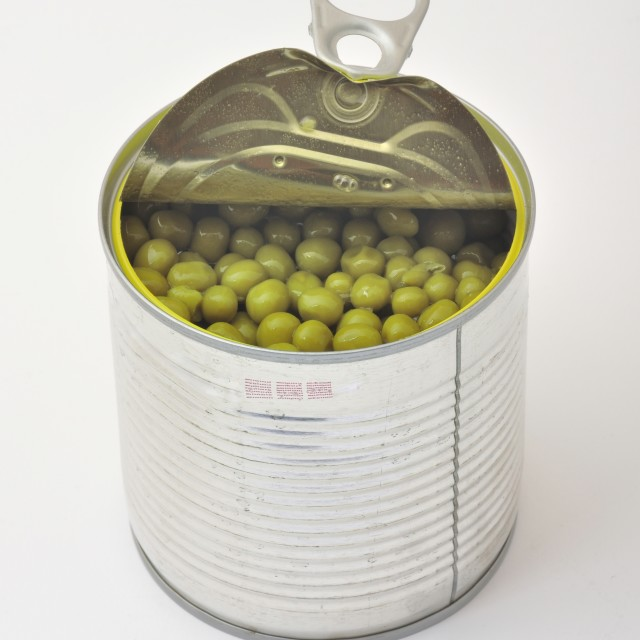 """green peas in tin can"" stock image"