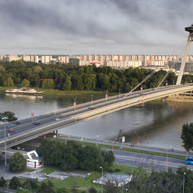"""The New Bridge (former Bridge of SNP), Bratislava"" stock image"