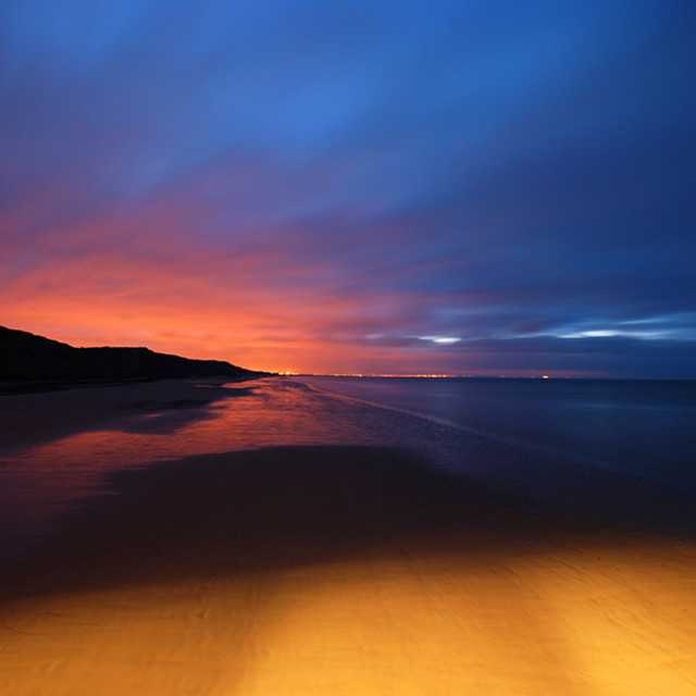 """Saltburn beach at dusk"" stock image"