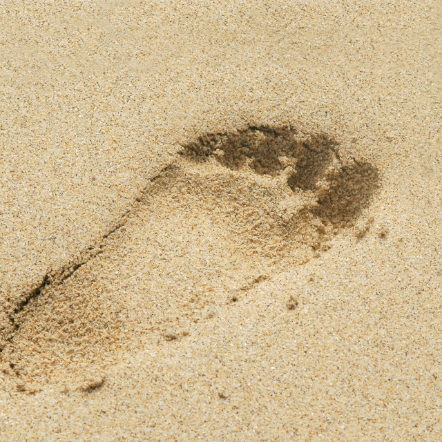 """footprint in the sand"" stock image"