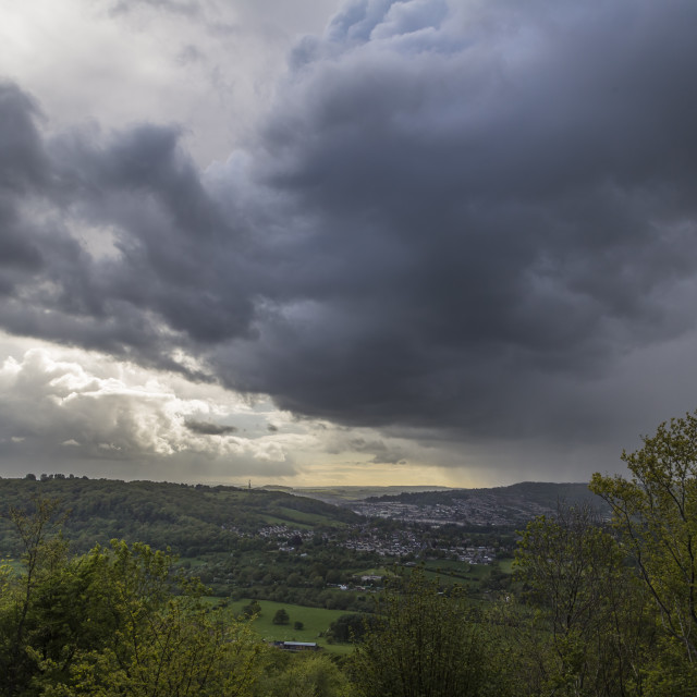 """Huge storm clouds over the city of Bath"" stock image"