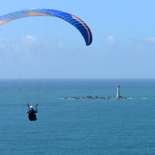 """""""Paragliding Guernsey Style"""" stock image"""