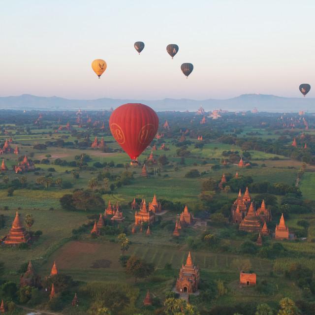 """Balloons Over Bagan"" stock image"