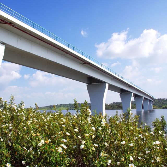 """Bridge on the Alqueva lake, Alentejo,Portugal."" stock image"