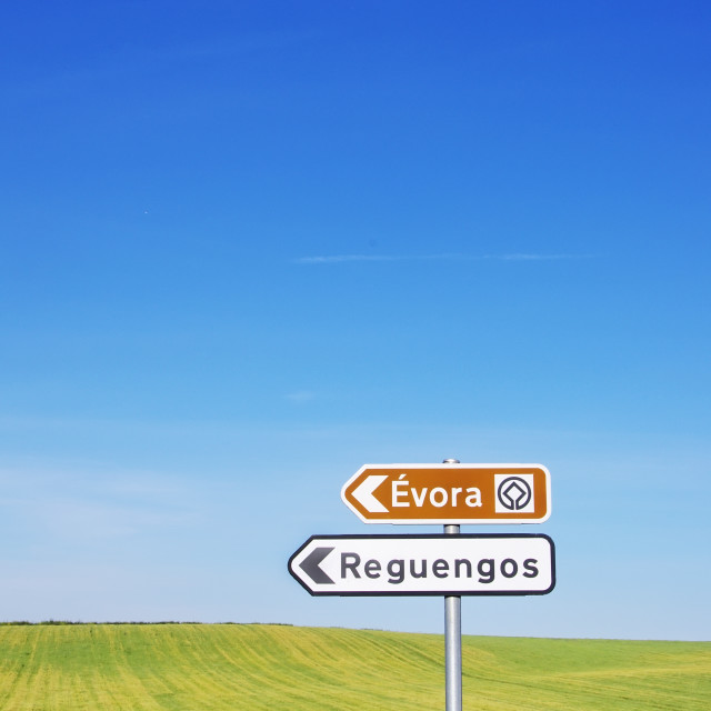 """""""Portugese road signs, alentejo region"""" stock image"""