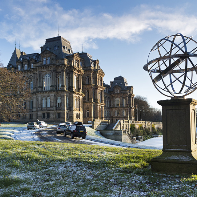 """The Bowes Museum and the Armillary Sphere Barnard Castle Teesdale County Durham England UK"" stock image"