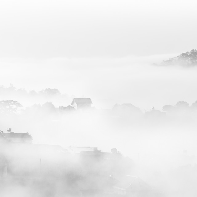 """Little House on the Prairie in the fog"" stock image"