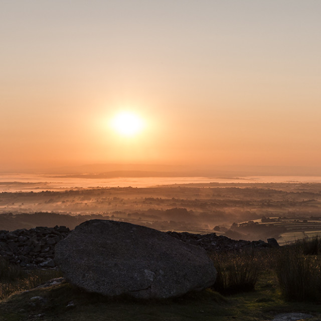"""Bodmin Moor Sunrise Viewed From Stowe's Hill, Bodmin Moor, Cornwall UK"" stock image"