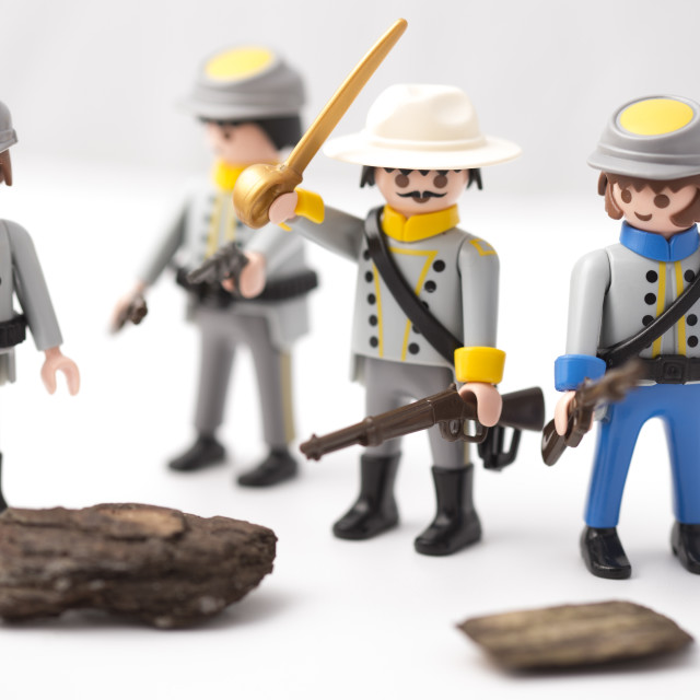 """Confederate General and his soldiers armed to the teeth"" stock image"