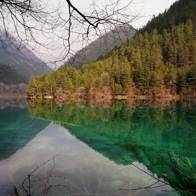 """Mirror Lake, Jiuzhaigou, China"" stock image"