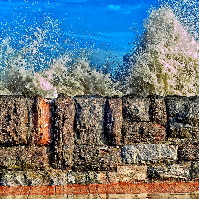 """""""Waves Over The Wall"""" stock image"""