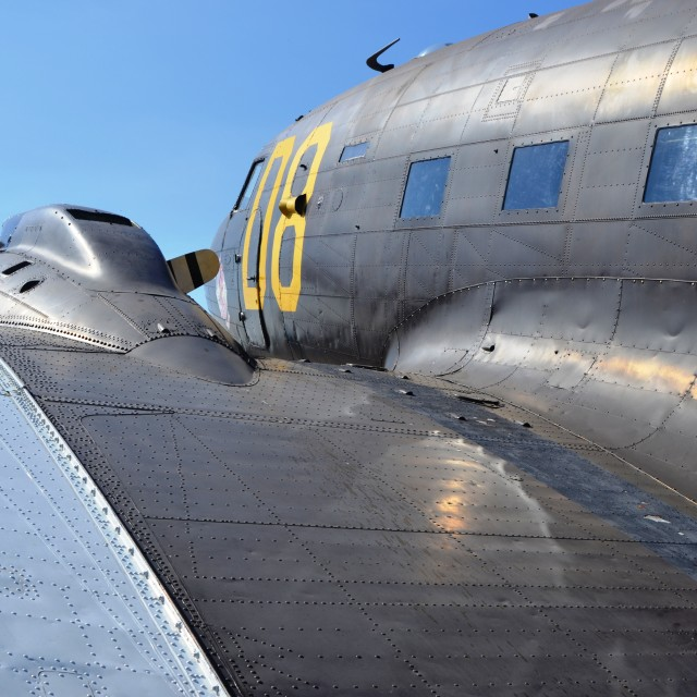 """WW2 C-47 wing and fuselage"" stock image"