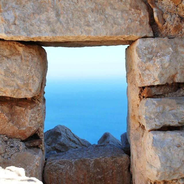 """Crusader Knights castle, Halki"" stock image"