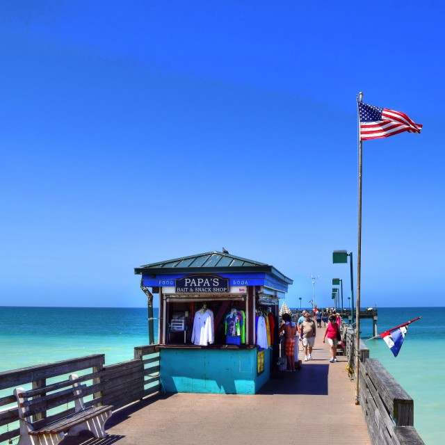 """fishing pier at beach"" stock image"