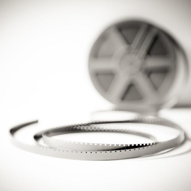 """Super 8 mm filmstrip reel black and white"" stock image"