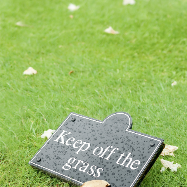 """keep off the grass"" stock image"
