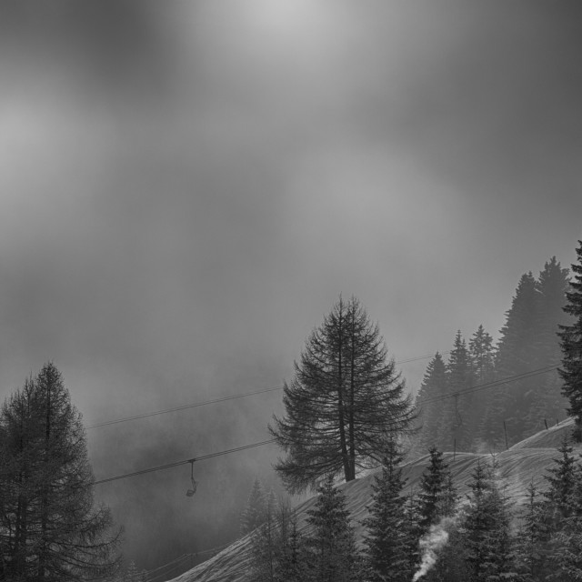 """""""Chairlift in the Fog"""" stock image"""