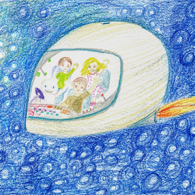"""Spaceship Hand Drawing"" stock image"