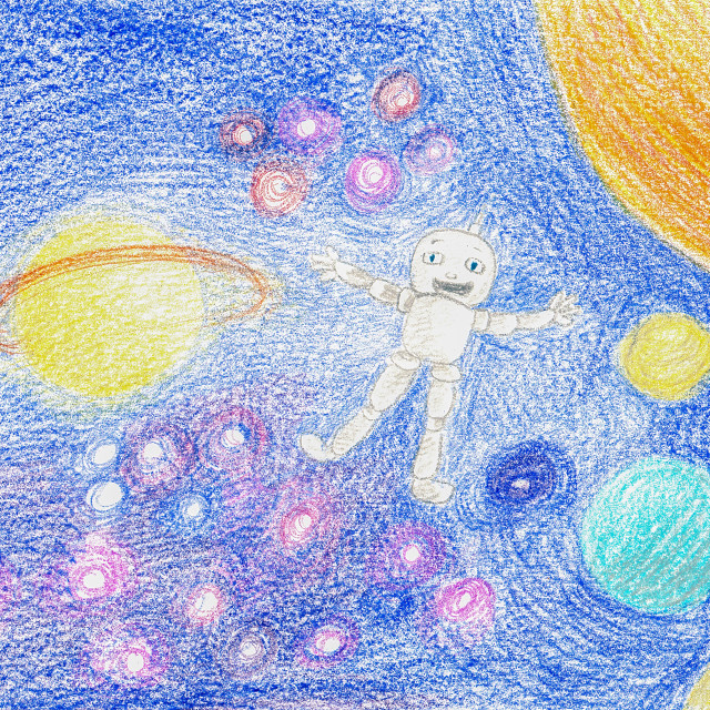 """Robot Floating in Space Kiddy Hand Drawing"" stock image"