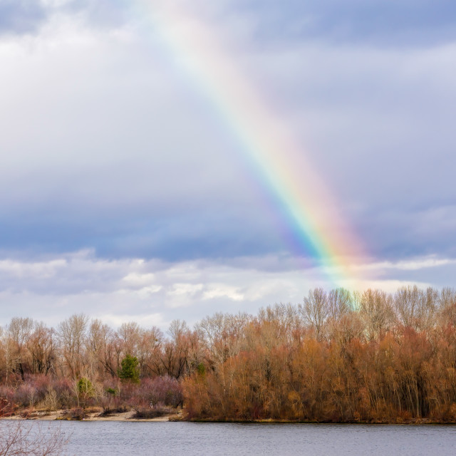 """Real Rainbow Over the River"" stock image"