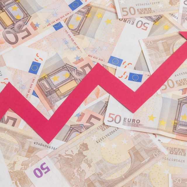 """Value of euro increasing"" stock image"