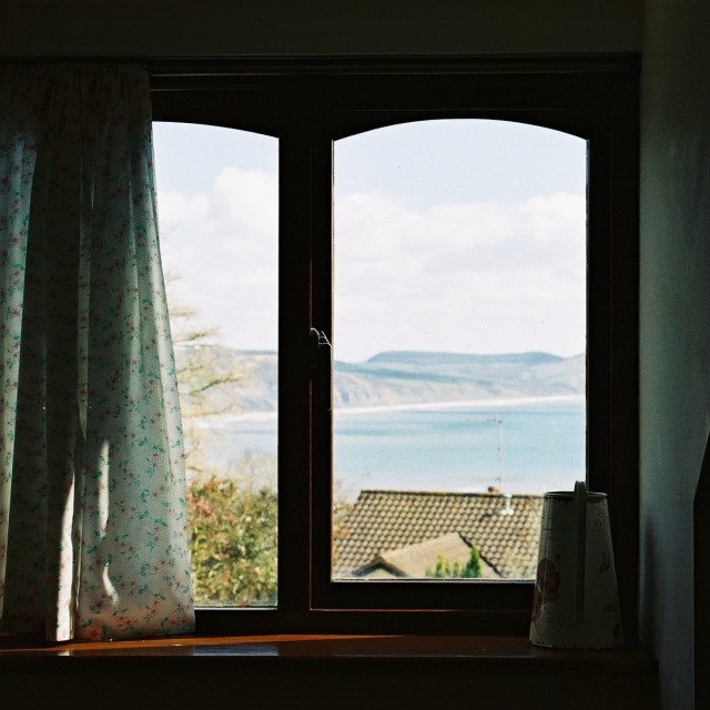 """""""Out the window in Lyme Regis, UK"""" stock image"""