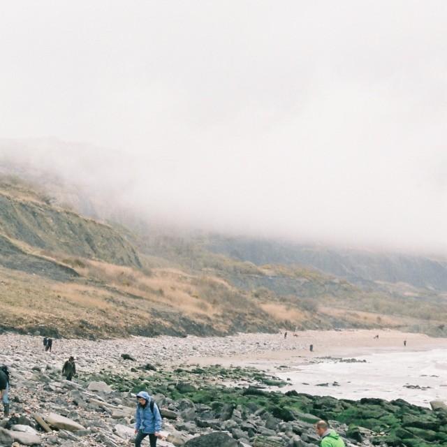 """A misty beach day"" stock image"