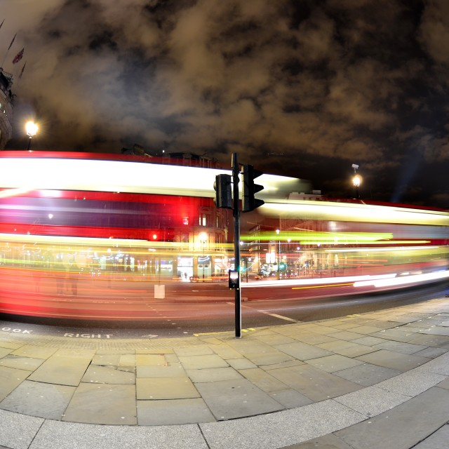 """""""Passing Red London Bus"""" stock image"""