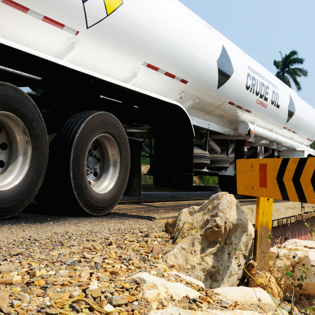 """""""Truck transporting crude oil"""" stock image"""