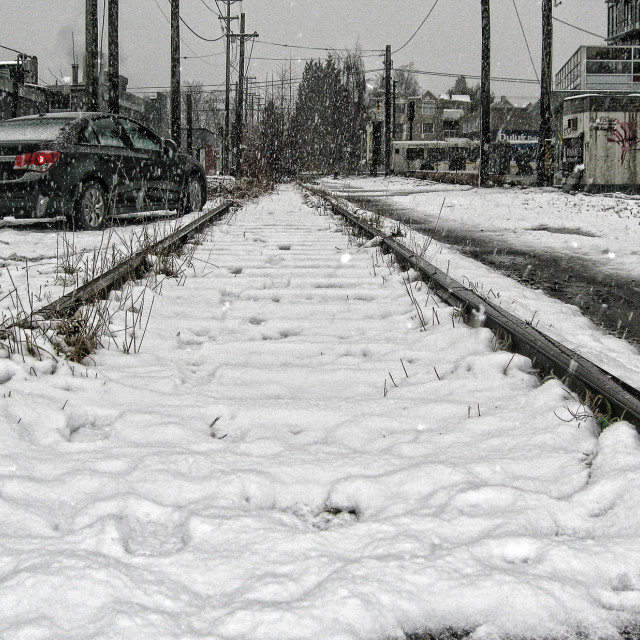 """Snow on the tracks"" stock image"