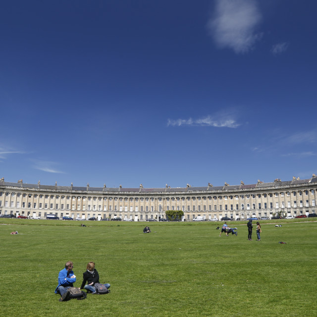 """sunny afternoon in the Royal Crescent, Bath, UK."" stock image"