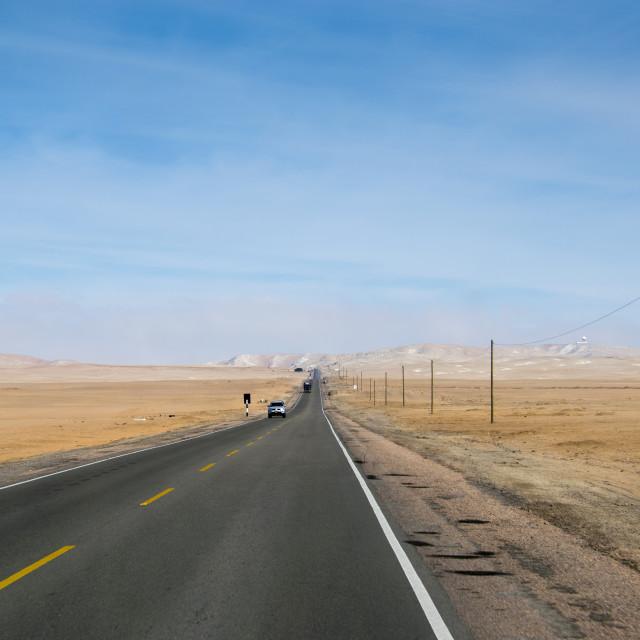 """Desert highway in Peru"" stock image"