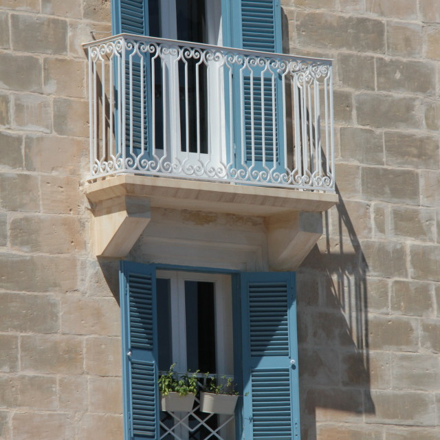 """Malta. shuttered windows"" stock image"
