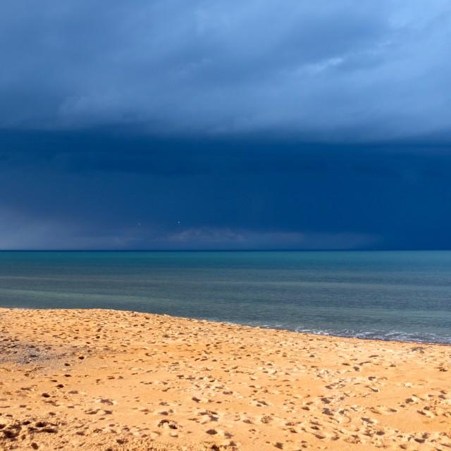 """The North Sea at Seaton Sluice Northumberland"" stock image"