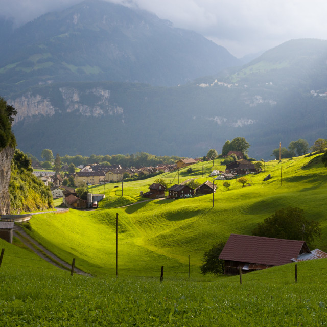 """Alps in afternoon sun"" stock image"