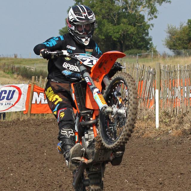 """British Motocross Rider at Foxhill"" stock image"