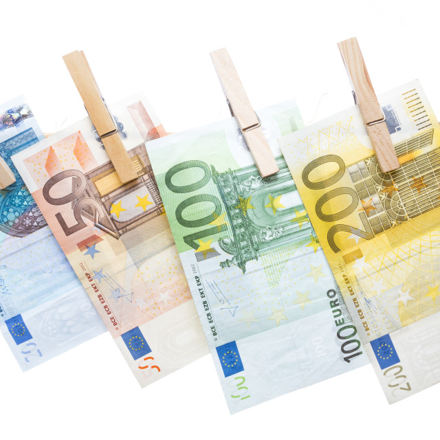 """Euro banknotes hanging from a rope"" stock image"