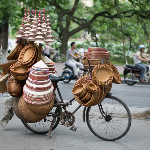 """""""Conical and Bamboo street vendor"""" stock image"""