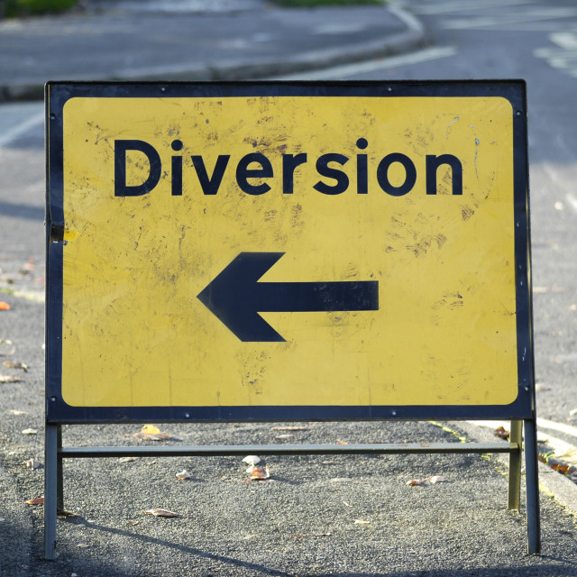 """diversion left"" stock image"