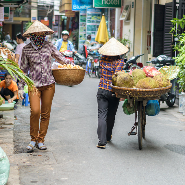 """Vietnamese women coming to - and -backing in a narrow street, Hanoi, Vietnam"" stock image"