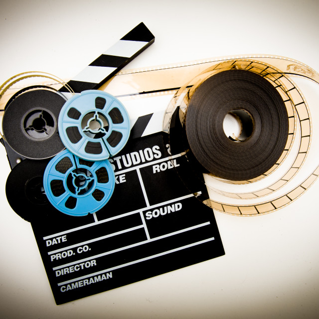 """Clapper board and reels"" stock image"