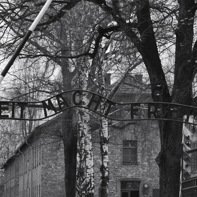 """Main Gate at Auschwitz."" stock image"