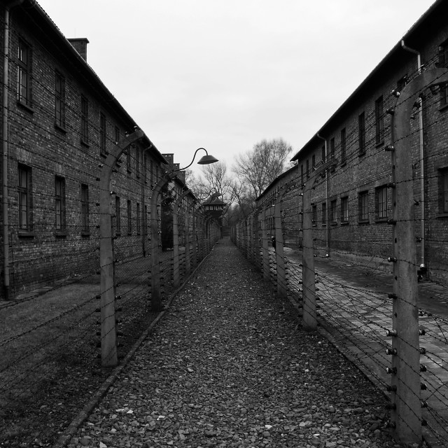 """Prison buildings at Auschwitz."" stock image"