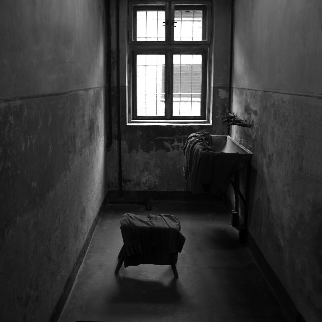 """Inside a cell at Auschwitz."" stock image"