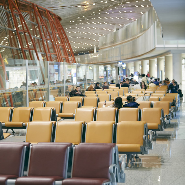 """Airport terminal waiting area"" stock image"