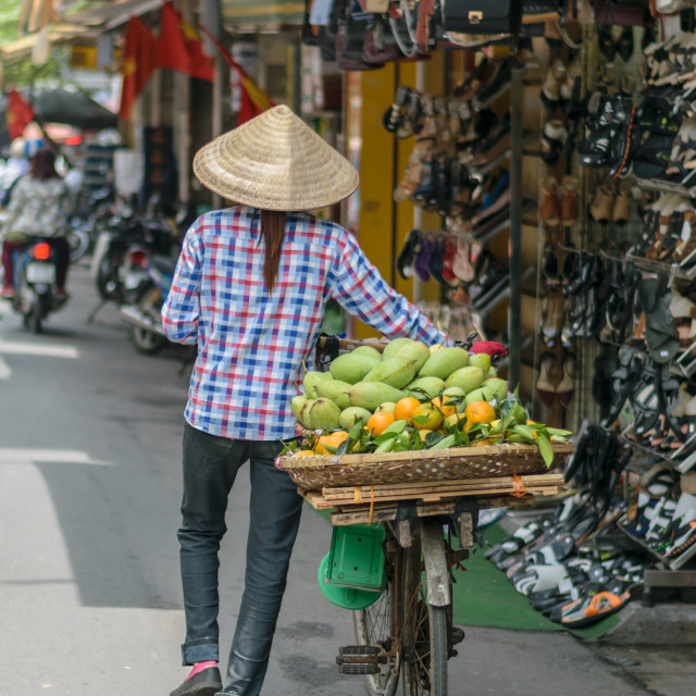 """Vietnamese vendor woman in Old Town Hanoi, Vietnam"" stock image"