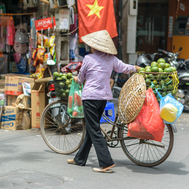 """Vietnamese vendor woman in Old Town Hanoi, Vietnam"" stock image"